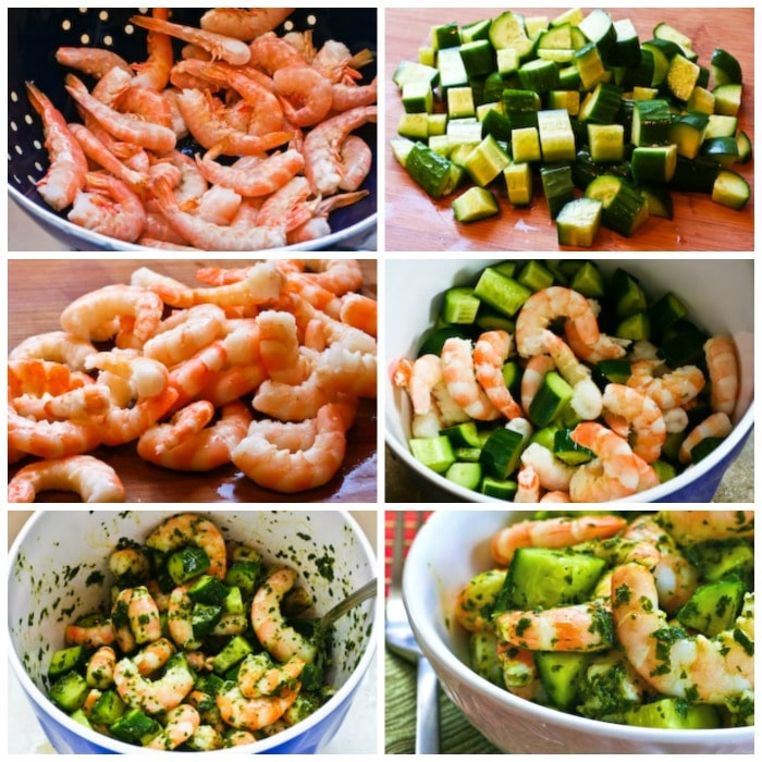 Spicy Shrimp and Cucumber Salad with Mint process shots collage