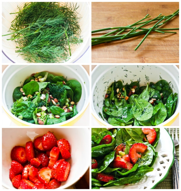 Strawberry Spinach Salad process shots collage
