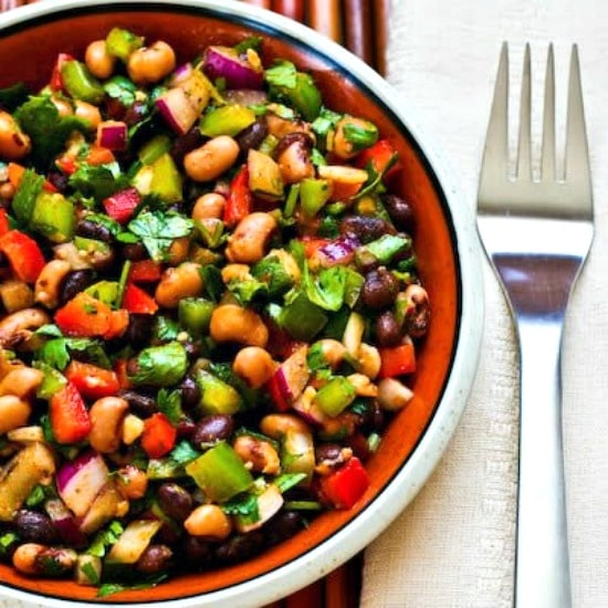 Southwestern Bean Salad with Black Beans, Black-Eyed Peas, Peppers, and Cilantro found on KalynsKitchen.com