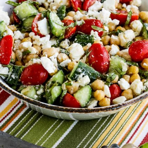 Cucumber, Tomato, and Garbanzo Salad with Feta