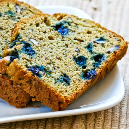 Low-Sugar Whole Wheat Zucchini Bread with Blueberries