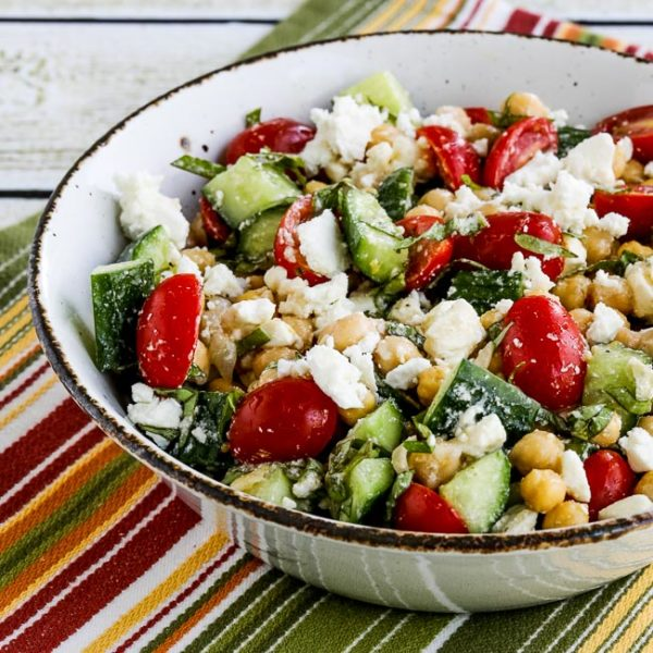 Cucumber and Tomato Salad with Marinated Garbanzo Beans, Feta, and Herbs found on KalynsKitchen.com
