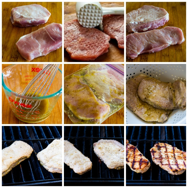 Process collage Photo for Grilled Boneless Pork Chops with Lemon, Garlic, and Sage