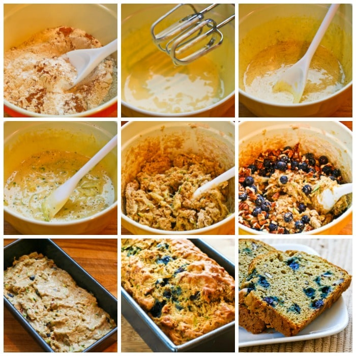 Low-Sugar Whole Wheat Zucchini Bread with Blueberries process shots collage