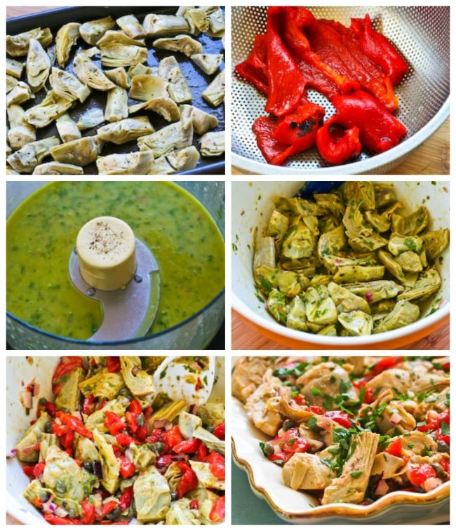 Warm or Cold Salad with Artichoke Hearts and Red Peppers process shots collage