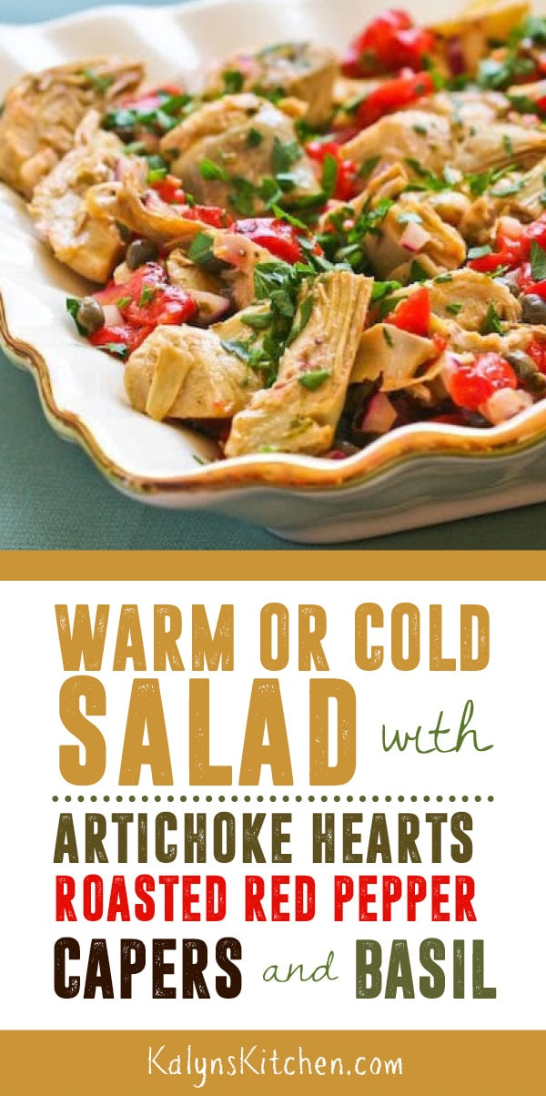 Pinterest image of Warm or Cold Salad with Artichoke Hearts, Roasted Red Pepper, Capers, and Basil
