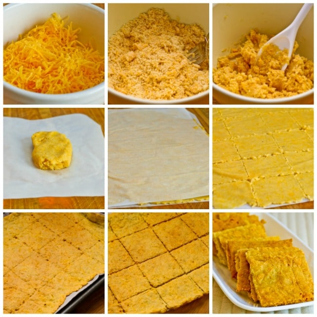 Low-Carb and Gluten-Free Cheese Crackers with Almond Flour process shots collage
