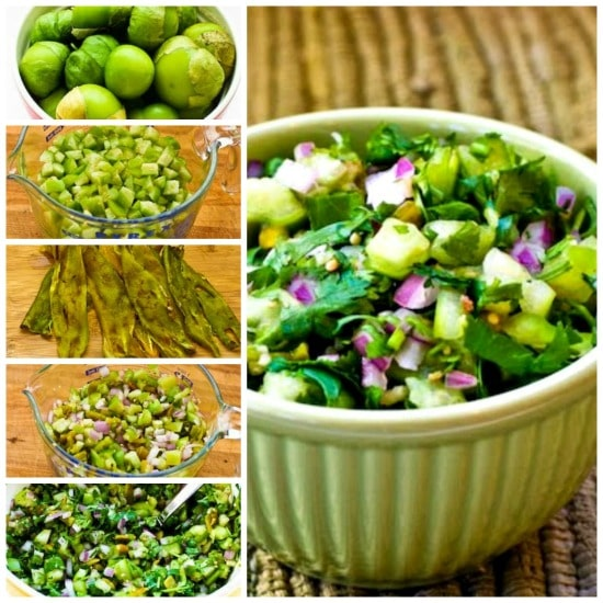 Tomatillo Salsa with Roasted Green Chiles, Cilantro, and Lime found on KalynsKitchen.com