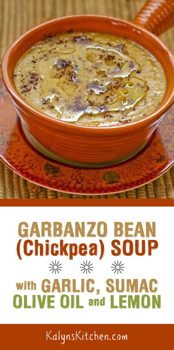 Pinterest image of Garbanzo Bean Soup with Garlic, Sumac, Olive Oil, and Lemon (Slow Cooker or Stovetop)
