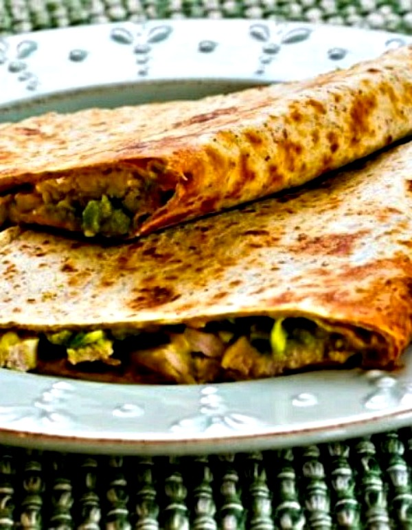 top photo for Turkey and Guacamole Quesadillas (from leftover turkey or chicken)