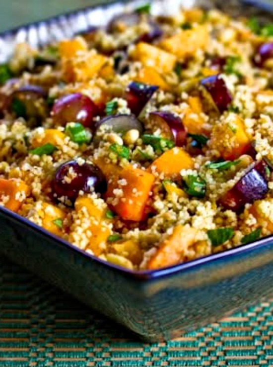 Whole Wheat Couscous Salad with Persimmon, Grapes, and Pine Nuts