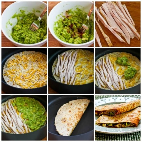Turkey and Guacamole Quesadillas found on KalynsKitchen.com