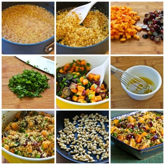 Whole Wheat Couscous Salad with Persimmon, Grapes, Mint, and Pine Nuts found on KalynsKitchen.com
