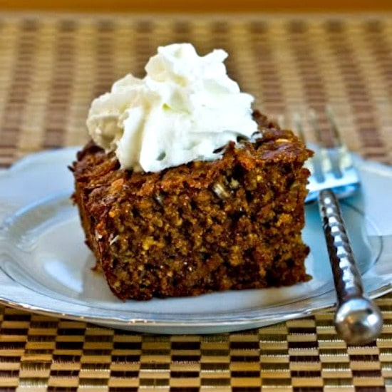 Low-Sugar Whole Wheat and Oatmeal Spice Cake with Fuyu Persimmons found on KalynsKitchen.com