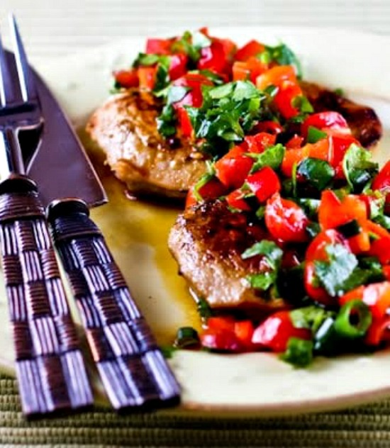 Creole-Seasoned Pan-Fried Pork with Tomato-Pepper Salsa found on KalynsKitchen.com