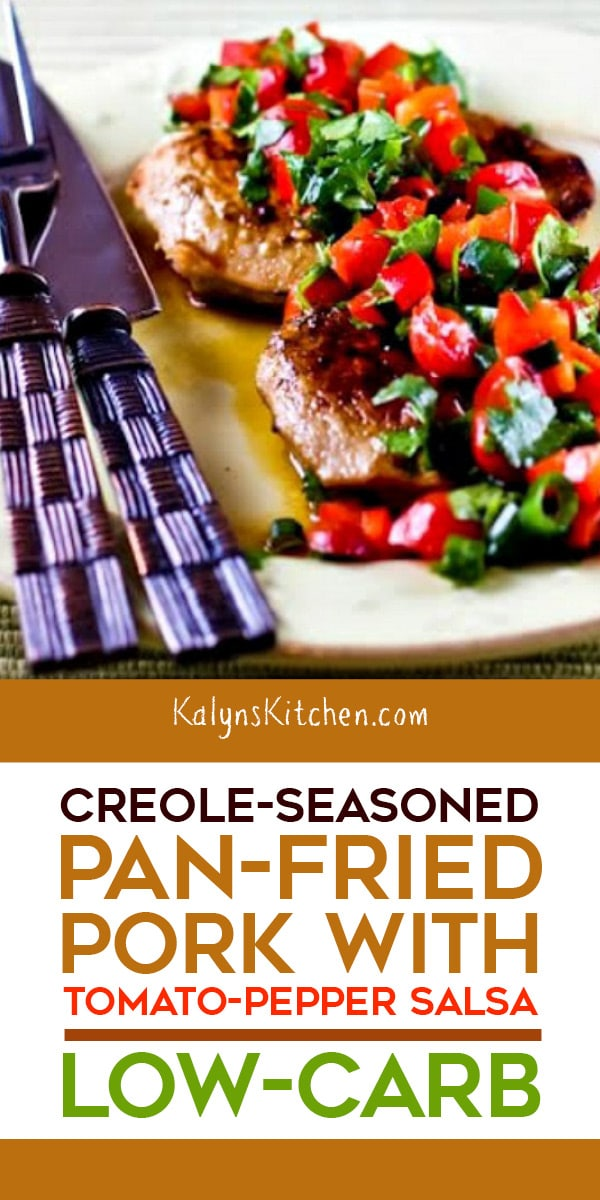 Pinterest image of Creole-Seasoned Pan-Fried Pork with Tomato-Pepper Salsa