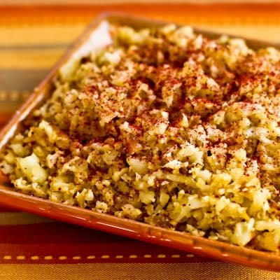 Low-Carb Cauliflower Rice with Fried Onions and Sumac found on KalynsKitchen.com