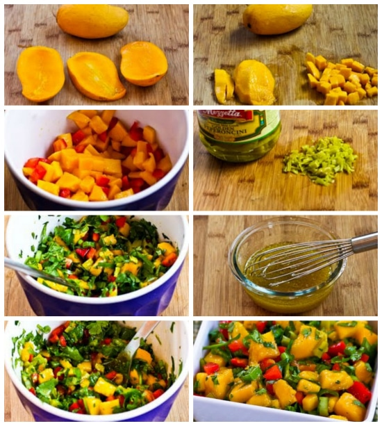 Mango Peperoncini Salsa with Red Bell Pepper, Lime and Cilantro found on KalynsKitchen.com