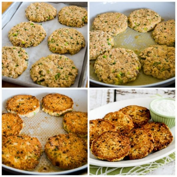 Low-Carb Salmon Patties with Double-Dill Tartar Sauce found on KalynsKitchen.com