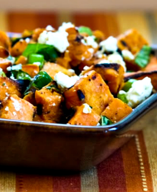Top photo of Grilled Sweet Potato Salad with Basil, Thyme, and Feta