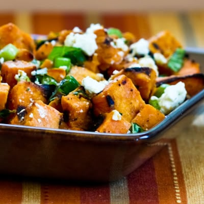 Grilled Sweet Potato Salad with Green Onion, Basil, Thyme, and Feta [from KalynsKitchen.com]