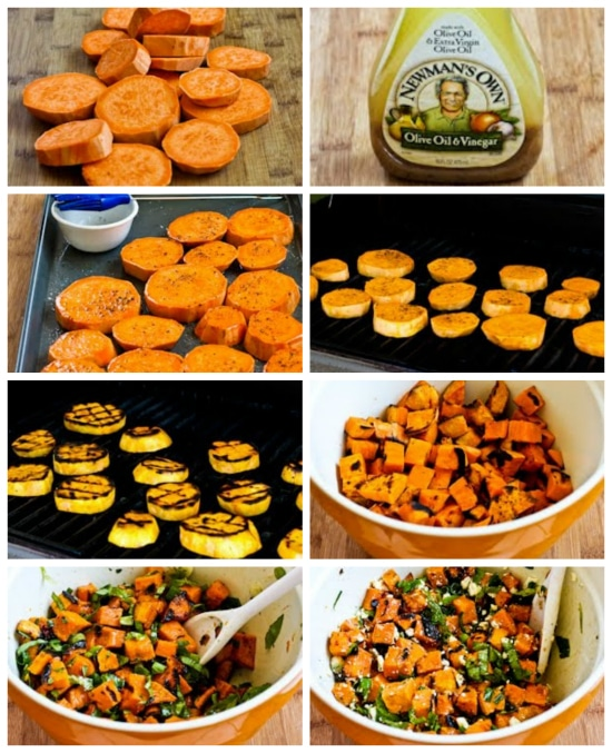step-by-step collage for Grilled Sweet Potato Salad with Basil, Thyme, and Feta