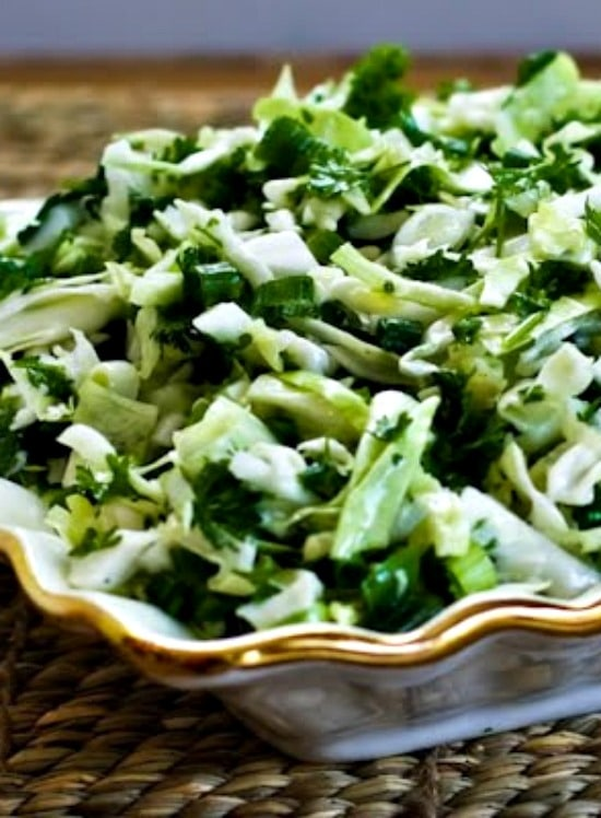 Val's Sweet Cabbage Slaw with Green Onion and Parsley found on KalynsKitchen.com