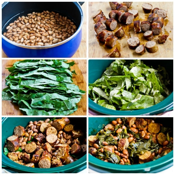 Crockpot Sausage, Beans, and Greens process shots collage