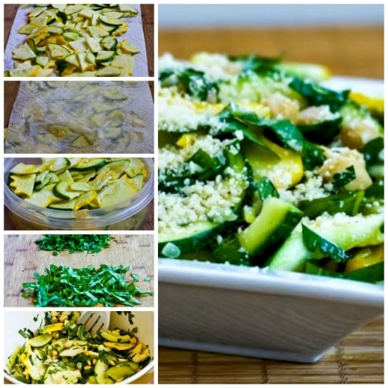 Marinated Summer Squash and Chickpea Salad with Lemon, Herbs, and Parmesan found on KalynsKitchen.com.