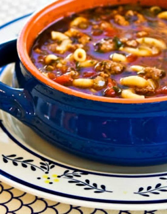 Easy Italian Sausage, Tomato, and Macaroni Soup with Basil
