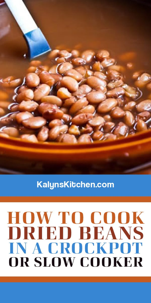 Pinterest image of How to Cook Dried Beans in a Crockpot or Slow Cooker