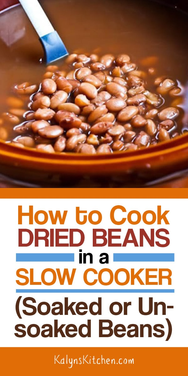 How to Cook Dried Beans in a Crockpot or Slow Cooker on KalynsKitchen.com