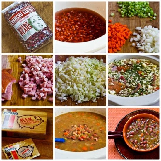 Crockpot (or Stovetop) Anasazi Bean and Cabbage Soup found on KalynsKitchen.com