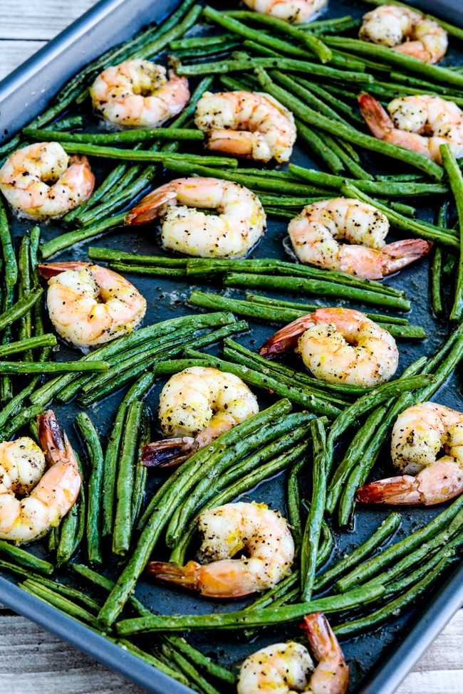 Spicy Green Beans and Shrimp Sheet Pan Meal close-up photo