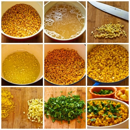 Lemony Yellow Split Pea Side Dish with Garlic and Ginger found on KalynsKitchen.com