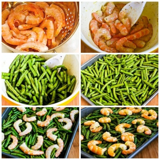 Spicy Low-Carb Roasted Green Beans and Shrimp Sheet Pan Meal found on KalynsKitchen.com