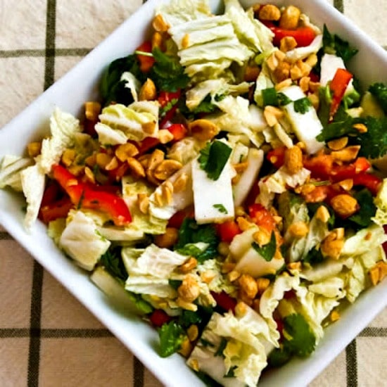 Low-Carb Napa Cabbage Salad Dijon-Ginger Dressing on KalynsKitchen.com