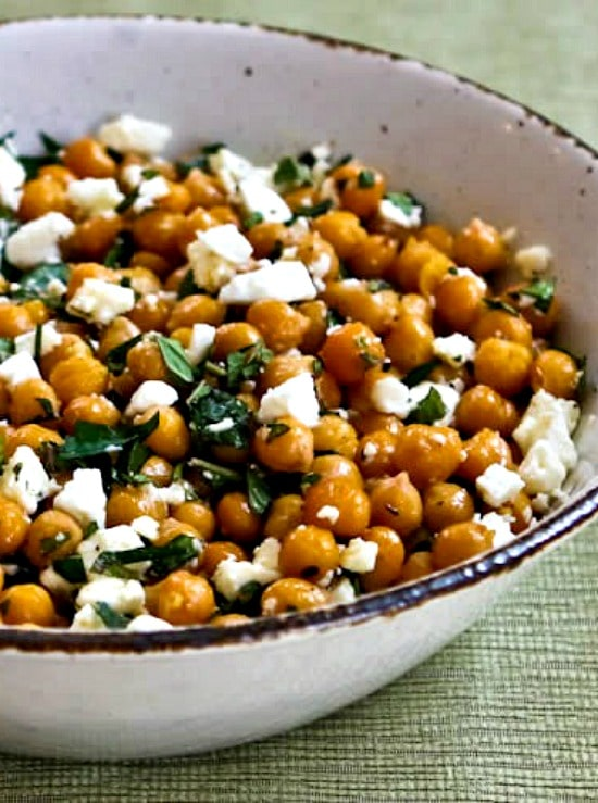 Garlicky Roasted Chickpeas With Feta Mint And Lemon