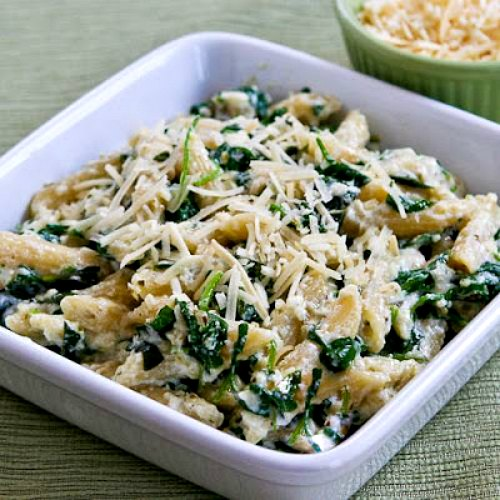 Penne Pasta with Wilted Arugula, Basil, Ricotta, and Parmesan Sauce [found on KalynsKitchen.com]