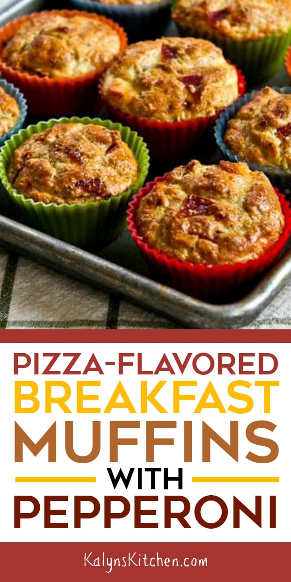 Pinterest image of PIZZA-FLAVORED BREAKFAST MUFFINS WITH PEPPERONI