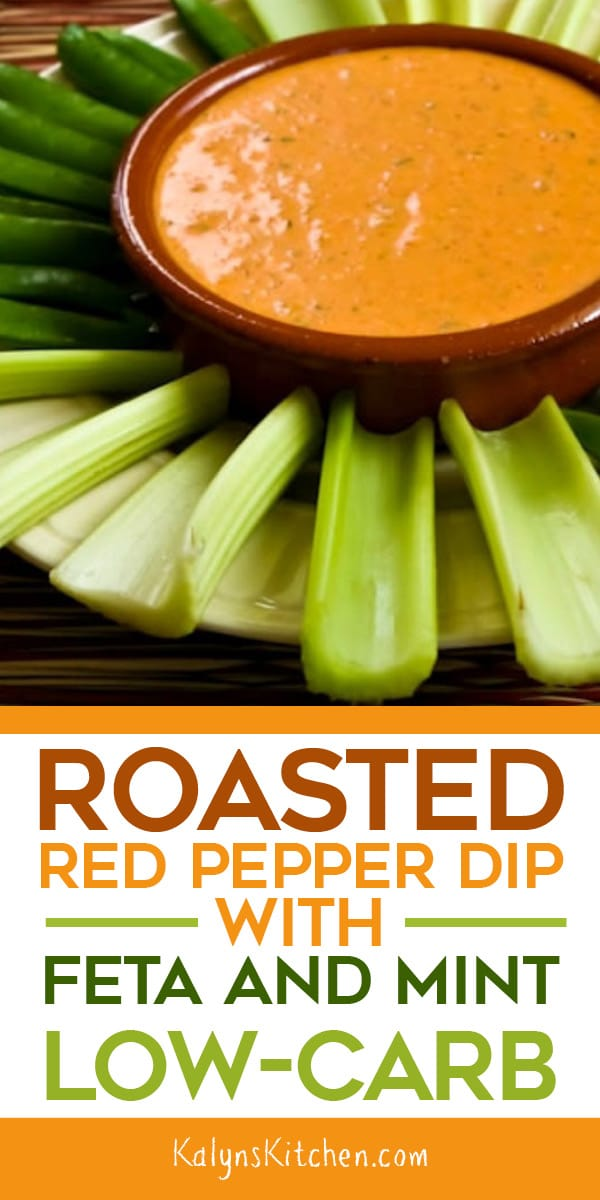 Pinterest image of Roasted Red Pepper Dip with Feta and Mint