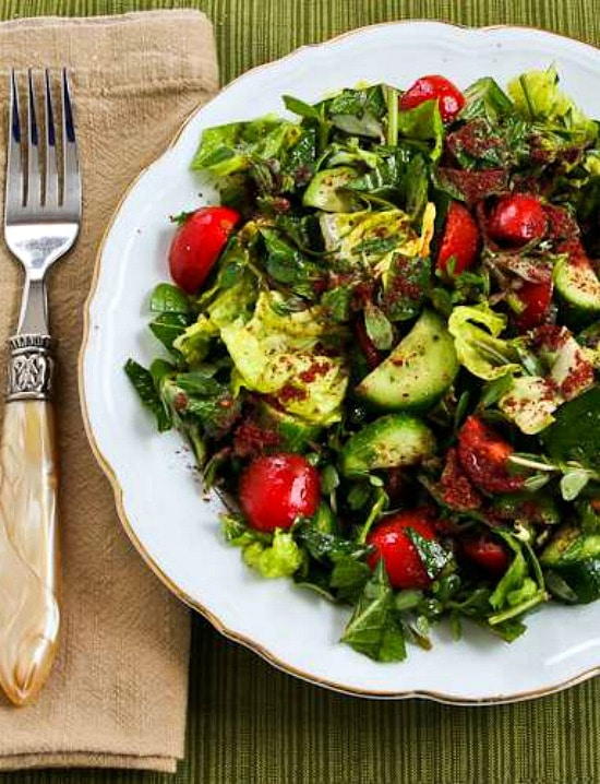 Mediterranean Lettuce Salad with Purslane, Mint, and Sumac-Lemon Vinaigrette