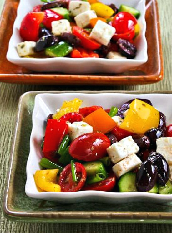 Chopped Greek Salad with Peppers top photo of finished salad on two plates