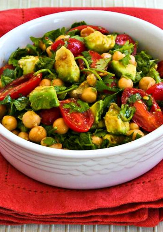 Garbanzo, Tomato, Avocado, and Cilantro Salad with Lime and Chile Dressing