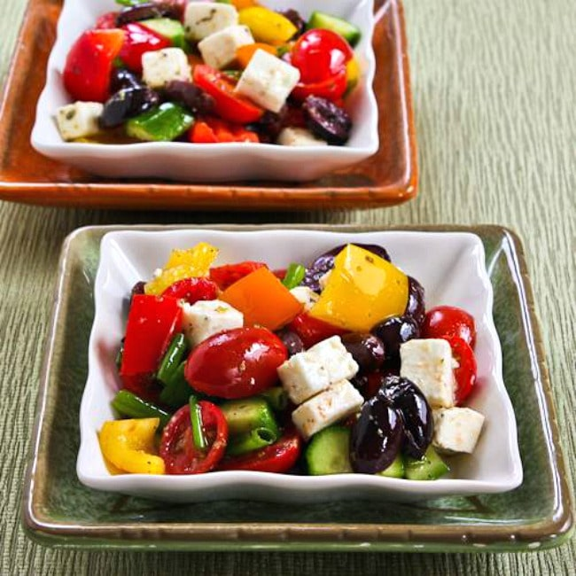 Chopped Greek Salad with Peppers large thumbnail photo of finished salad on plates