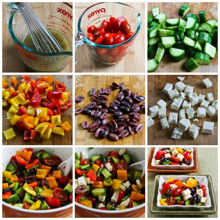 Chopped Greek Salad with Peppers process shots collage