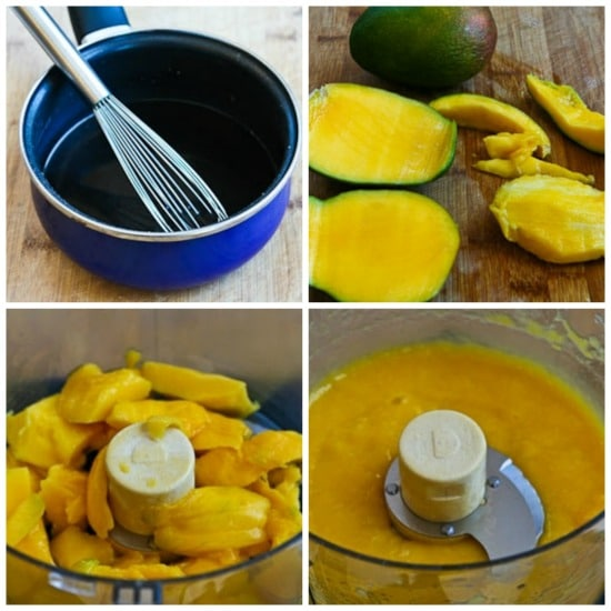 Low-Sugar Mango Sorbet (without an ice-cream freezer) found on KalynsKitchen.com