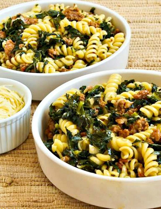Pasta with Hot Italian Sausage, Kale, Garlic, and Red Pepper Flakes found on KalynsKitchen.com