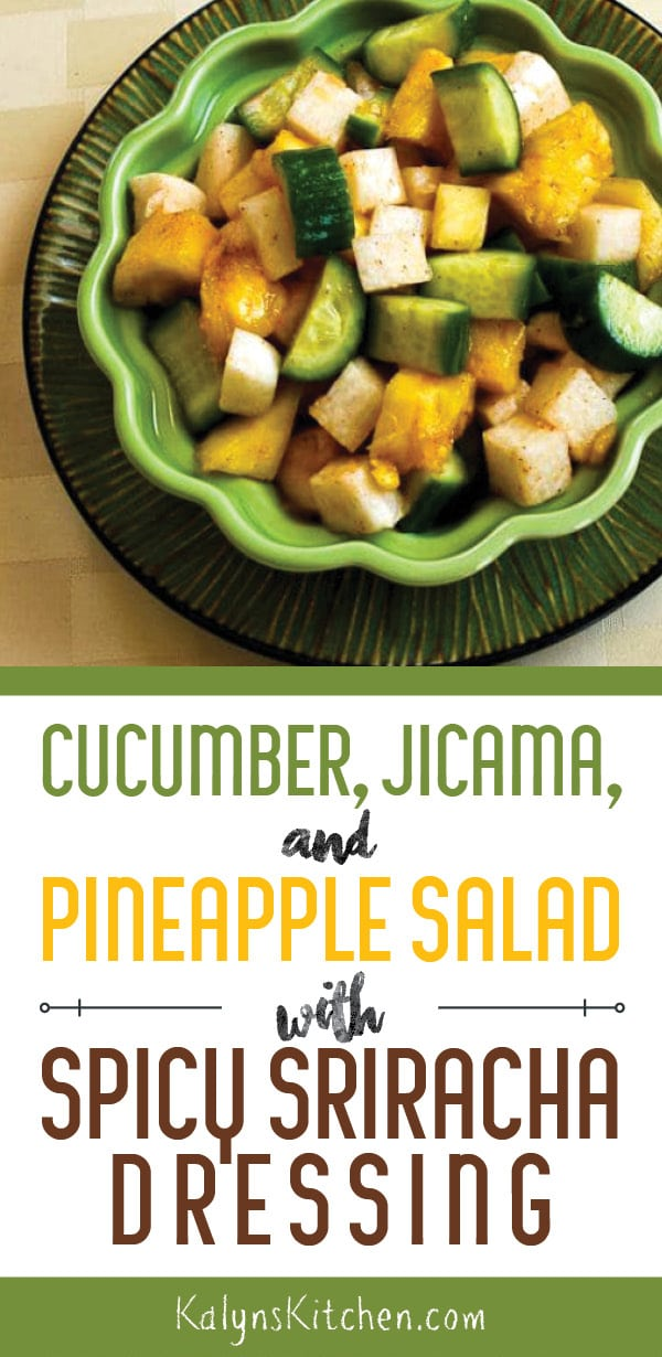 Pinterest image of Cucumber, Jicama, and Pineapple Salad with Spicy Sriracha Dressing