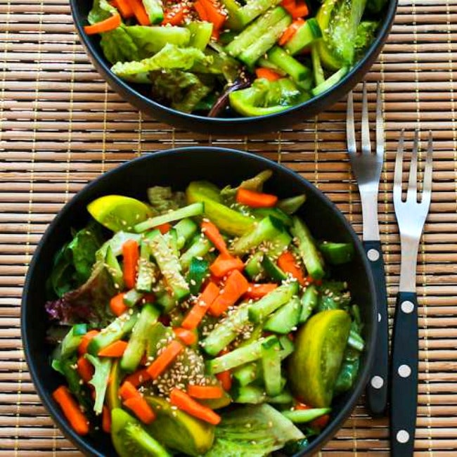 Asian Green Salad With Soy Sesame Dressing Kalyn S Kitchen